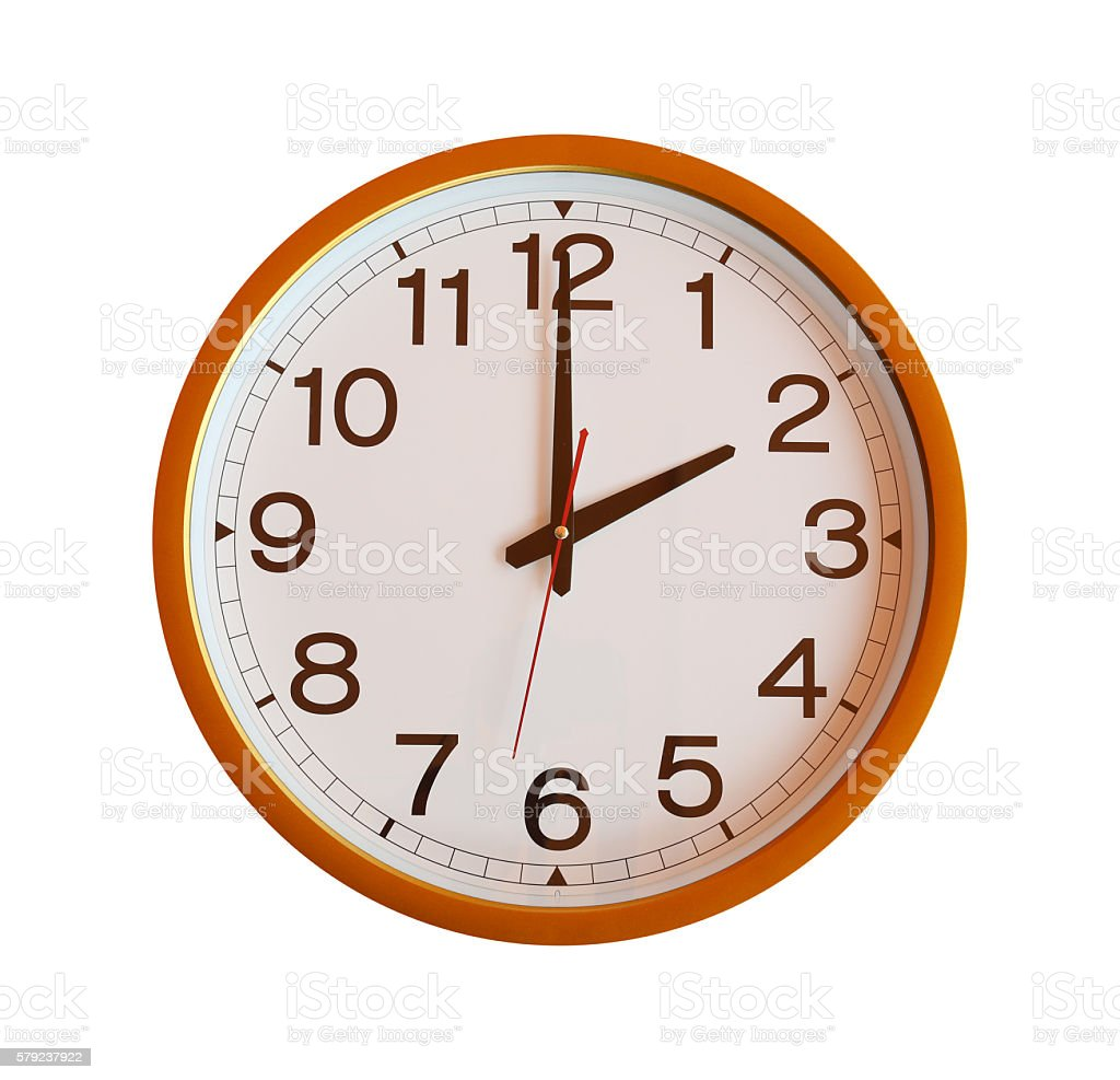 orange wall clock isolated in two o'clock. stock photo