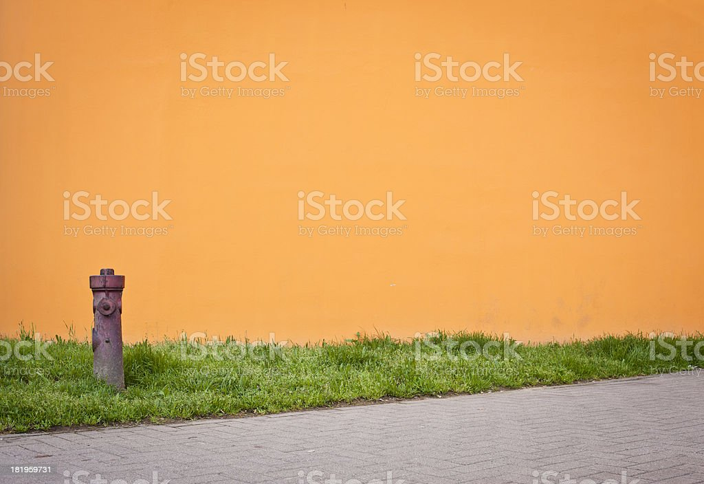 Orange Wall With Hydrant And Grass royalty-free stock photo