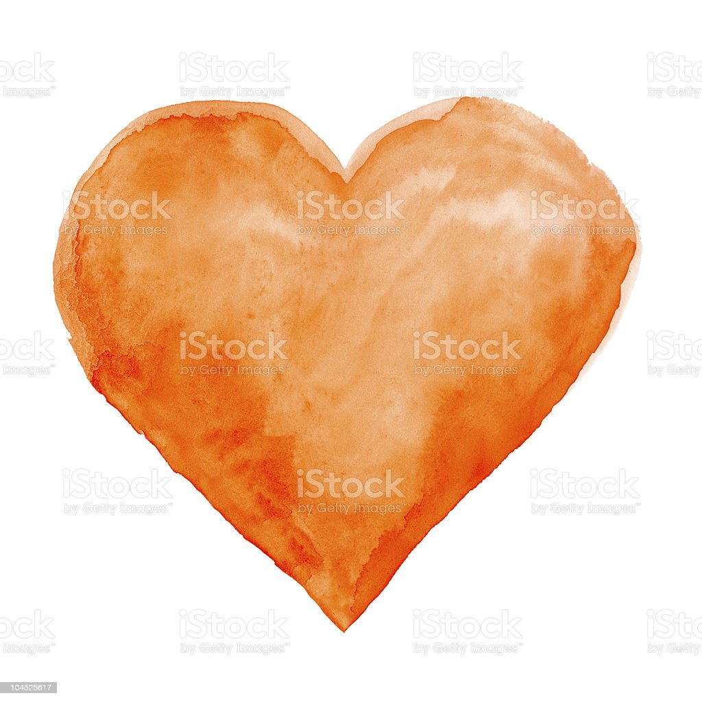 Orange water colored heart against white background stock photo