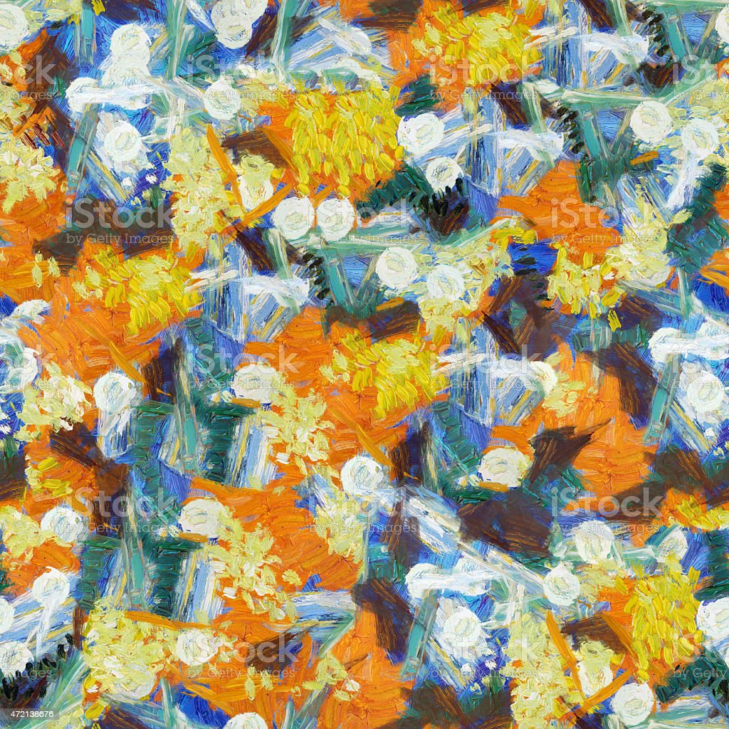 Orange white blue abstract seamless pattern oil strokes texture painting vector art illustration