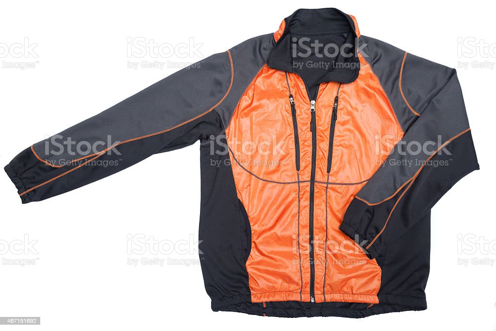 orange windbreaker track  jacket full zip stock photo