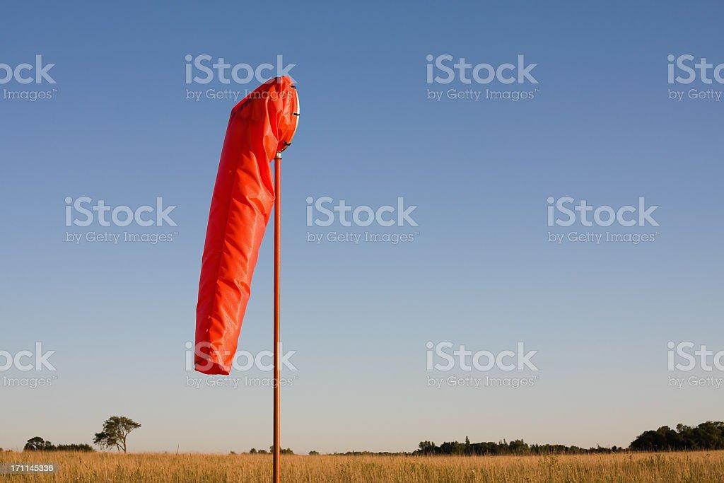 Orange Windsock at Rural Airport stock photo