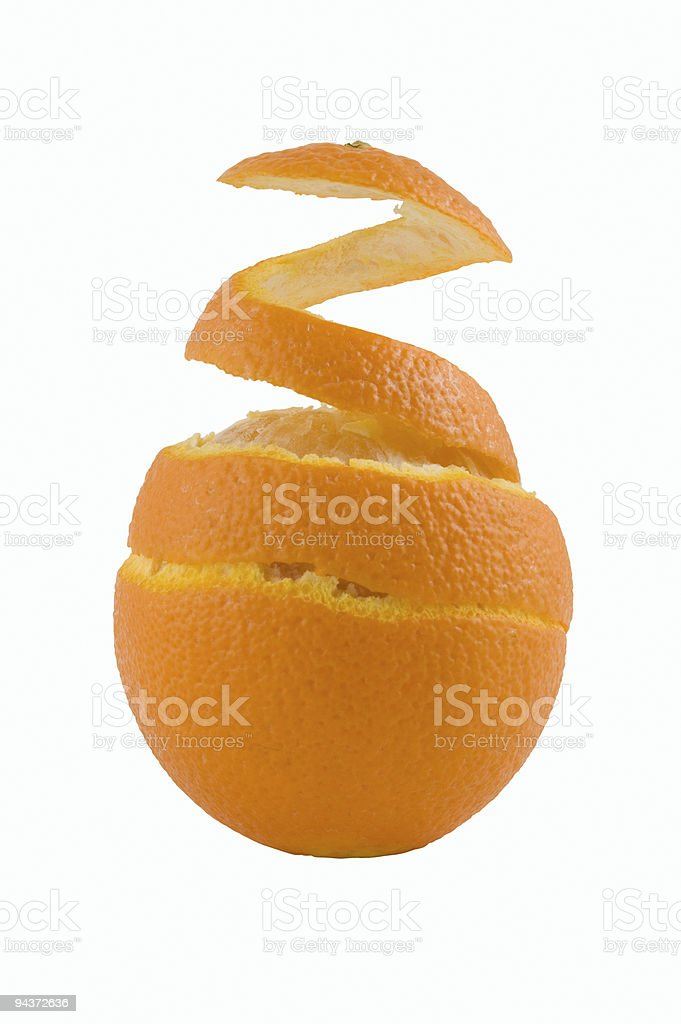 Orange with a spiral peel royalty-free stock photo