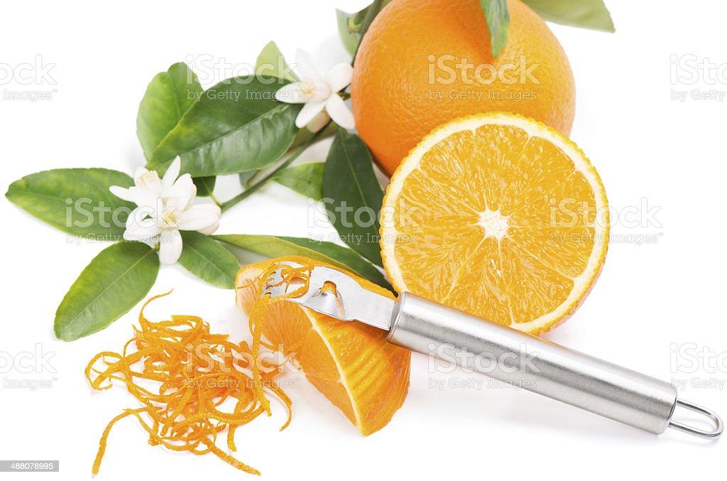 Orange with a zest stock photo