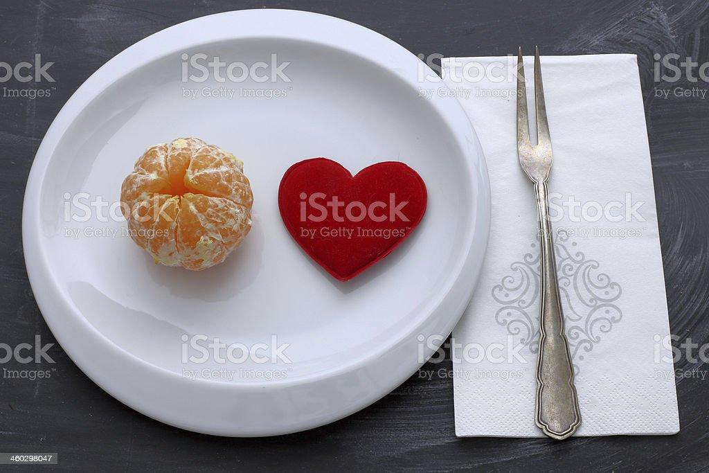 orange with heart royalty-free stock photo