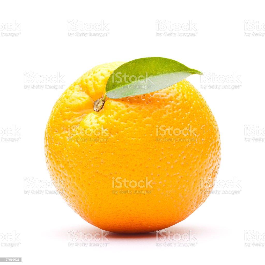 Orange with leaf on white background stock photo