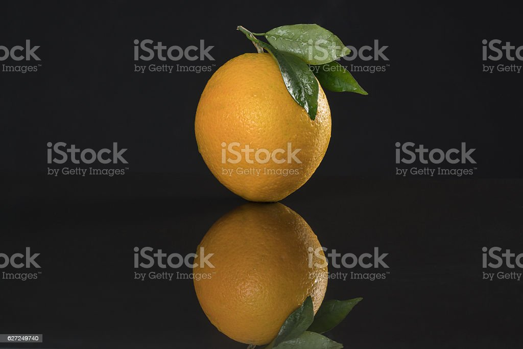 orange  with Leafs black background. stock photo
