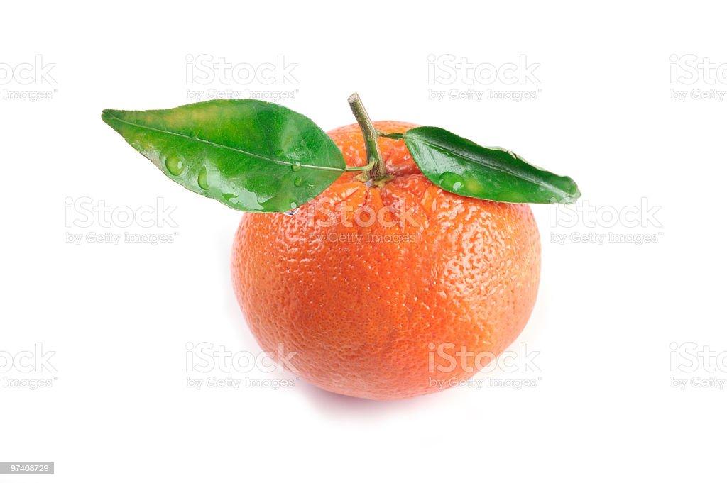 Orange with Leaves stock photo