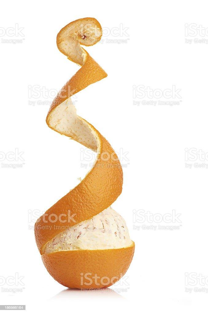 orange with peeled spiral skin royalty-free stock photo