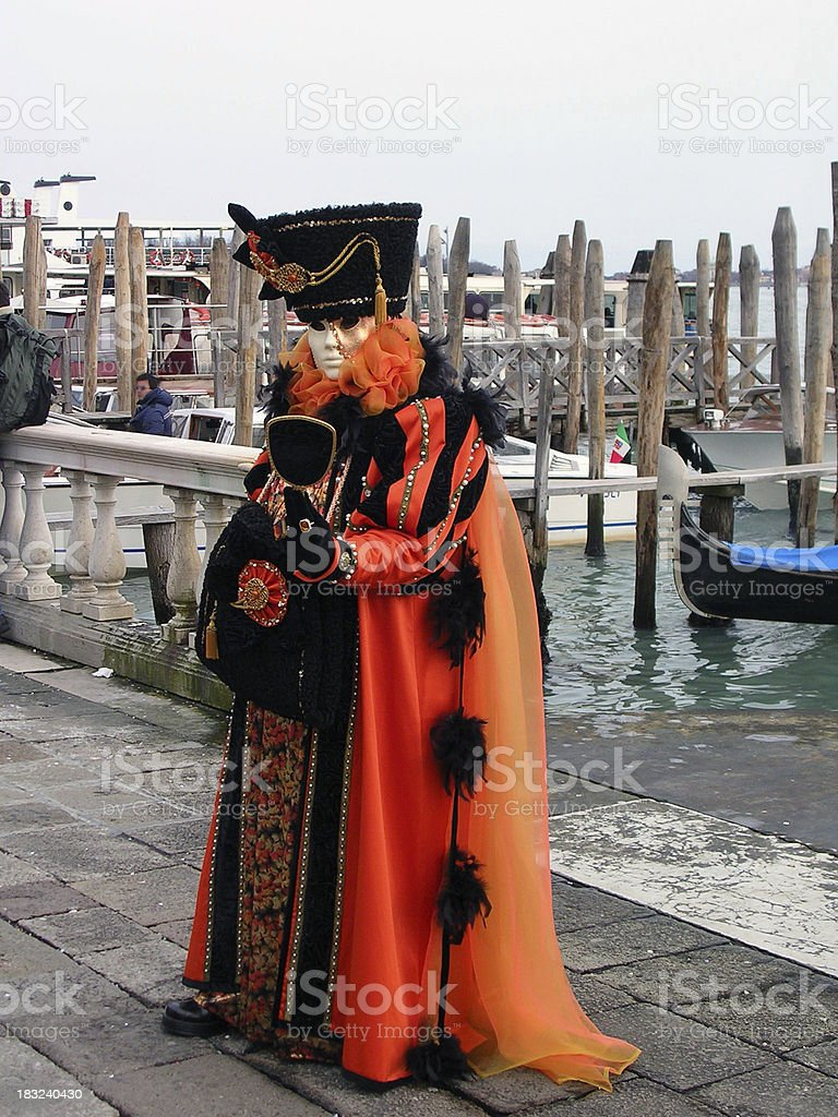 Orange Woman Posing; Carnival in Venice. royalty-free stock photo