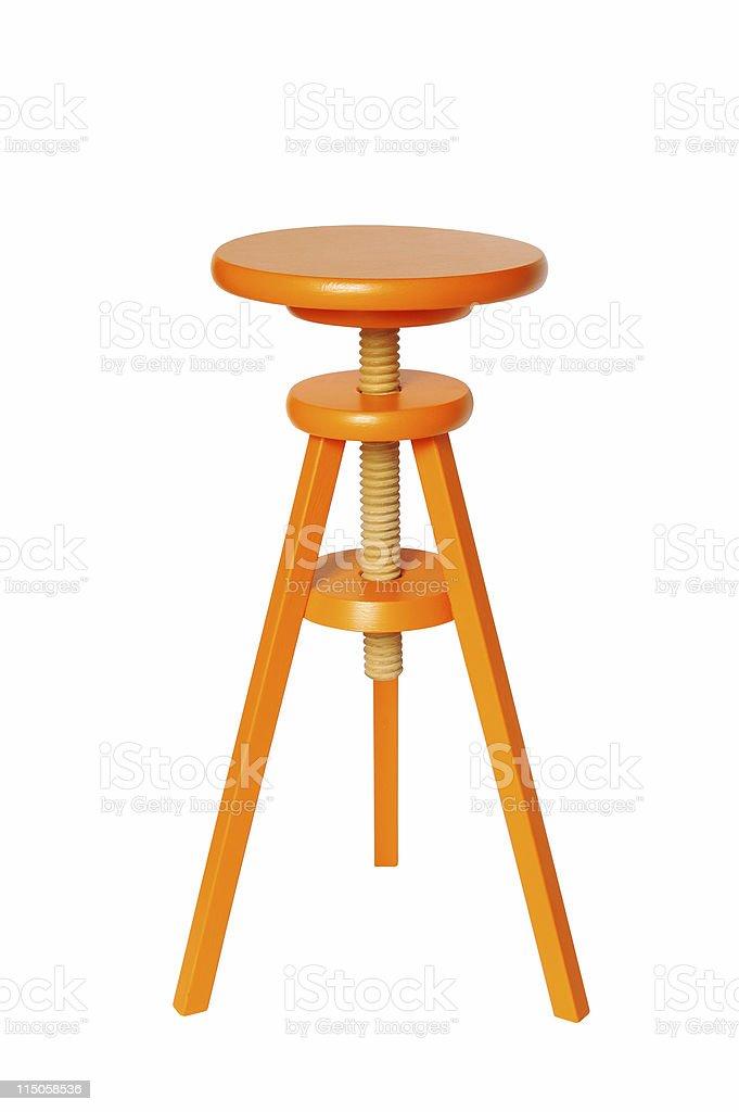 Orange Wood Stool stock photo