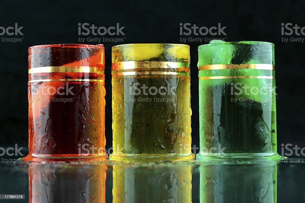 orange, yellow and green shots royalty-free stock photo