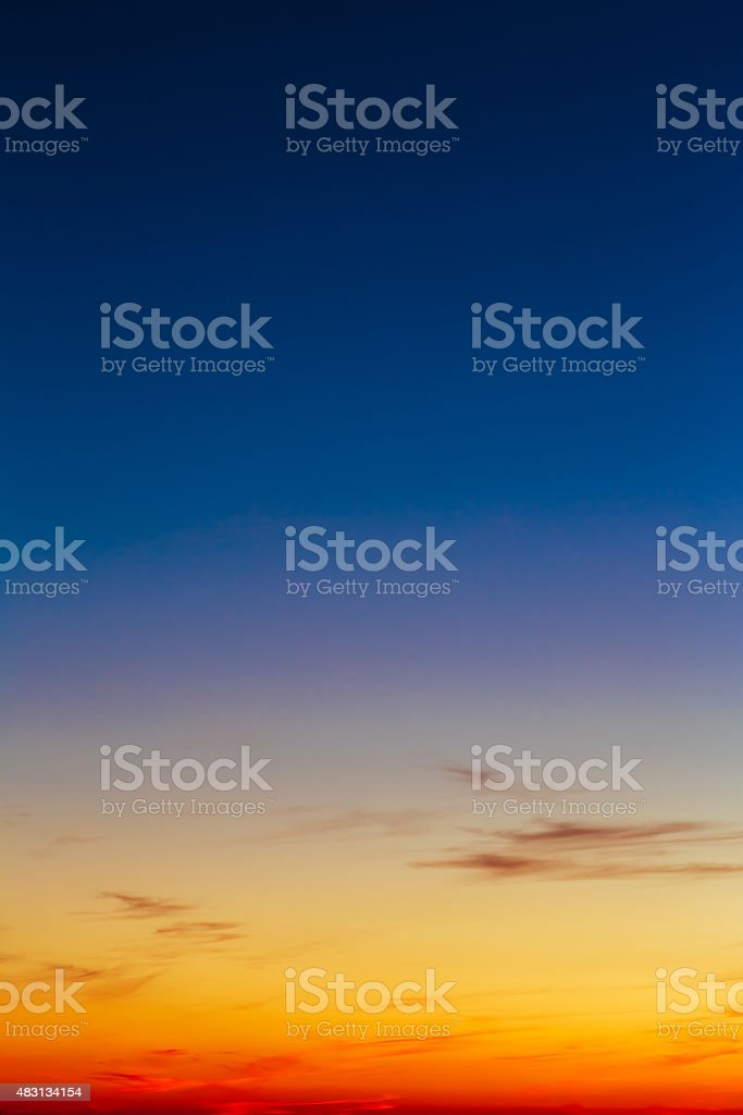 Orange, Yellow Blue Sunrise Sky With Sunlight Sunset Background stock photo