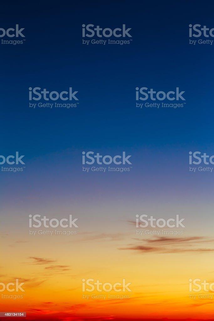 Orange, Yellow Blue Sunrise Sky With Sunlight Sunset Background stock photo