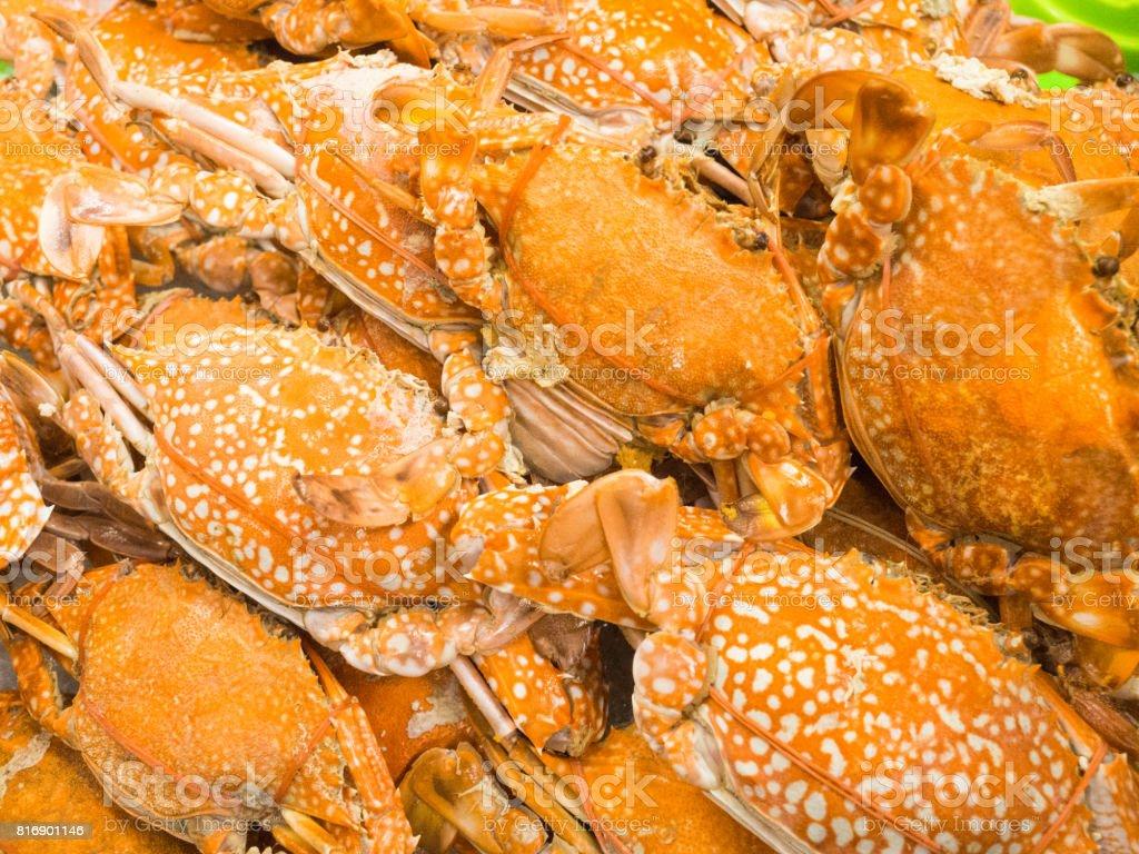 Orange yellow crab boil, seafood stock photo