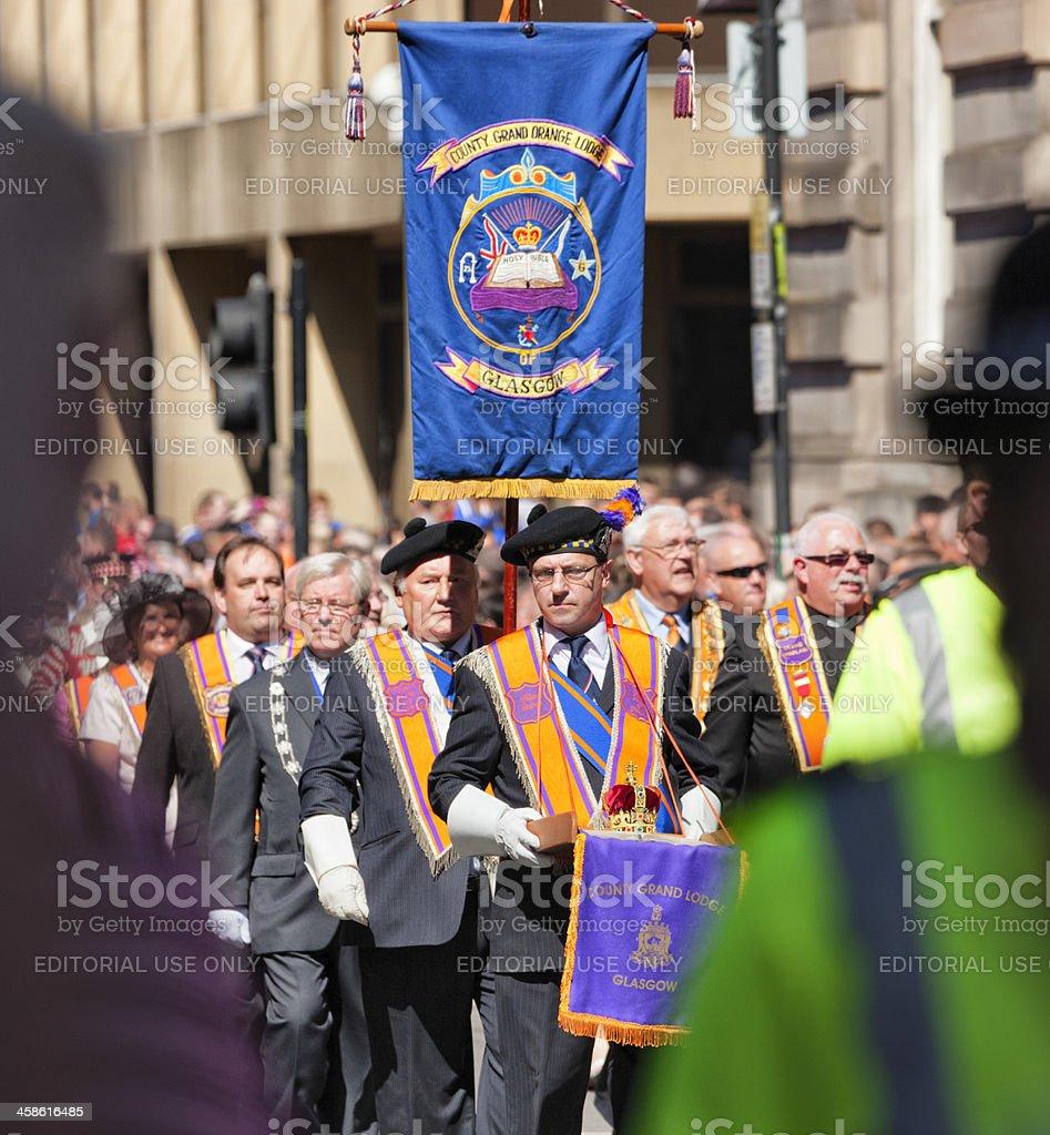 Orangemen of the County Grand Lodge, Glasgow stock photo