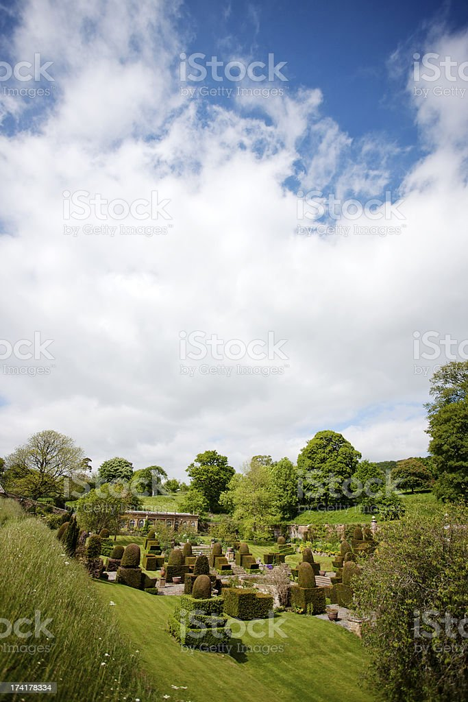 Orangery and topiary garden stock photo