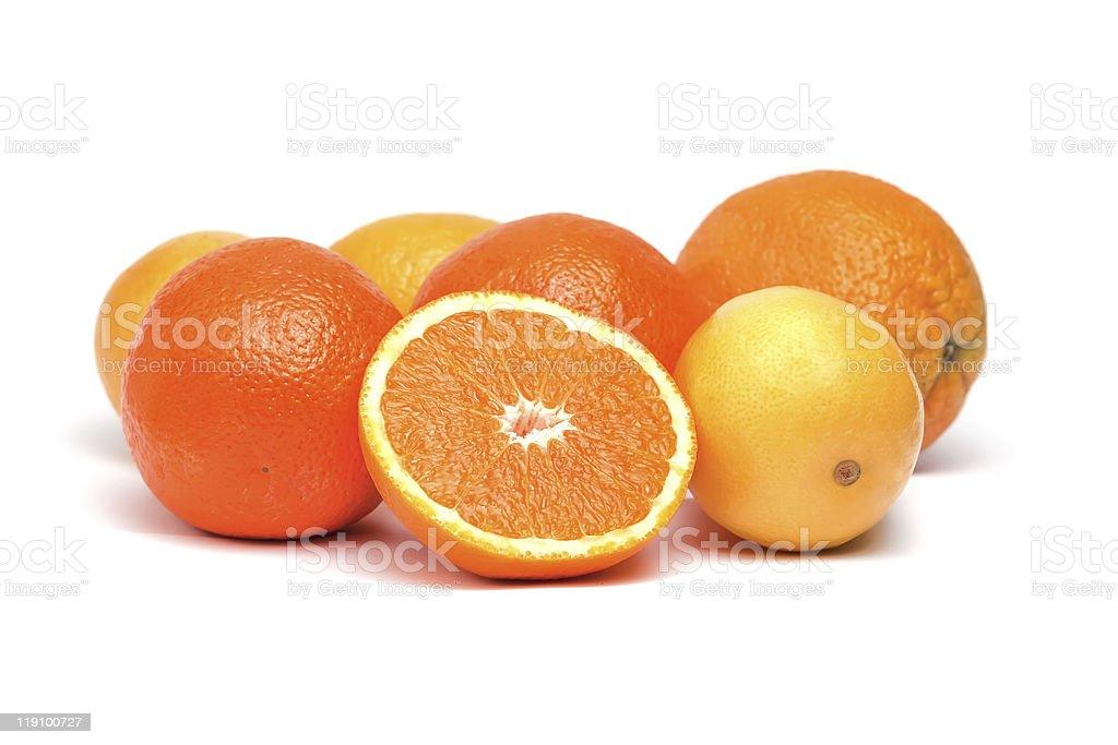 Oranges and lemons isolated on white background stock photo