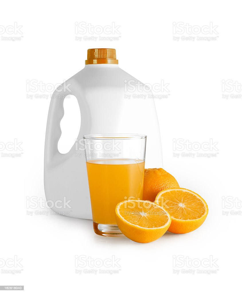 Oranges and Orange Juice with bottle. Clipping Path stock photo