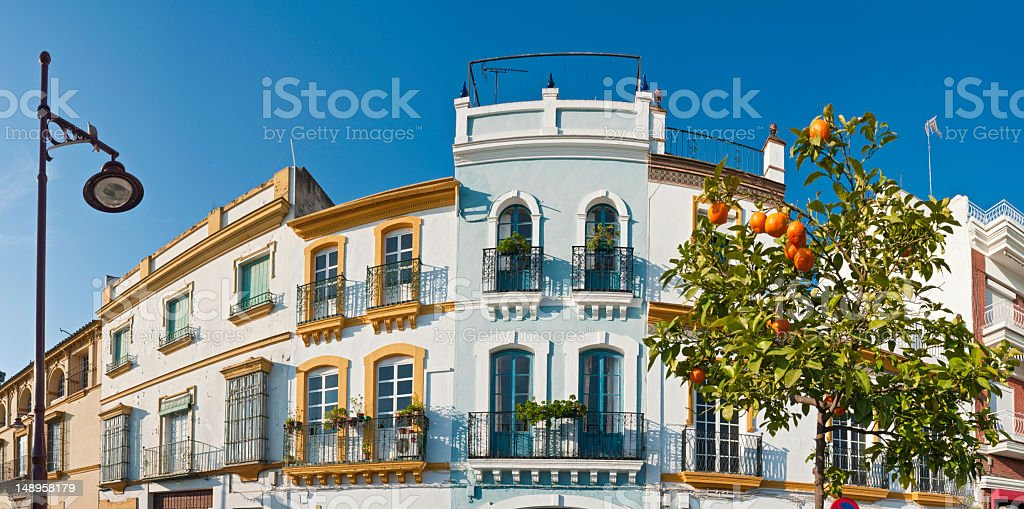 Oranges and villas Seville Spain royalty-free stock photo