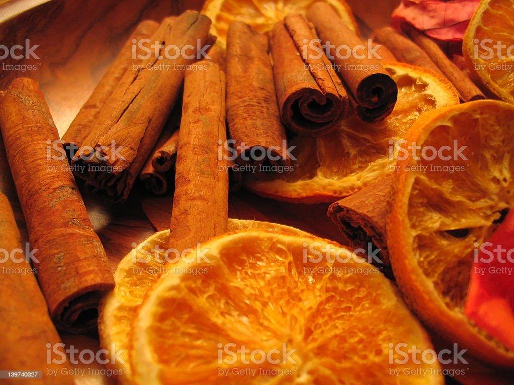 Oranges & Cinnamon sticks royalty-free stock photo