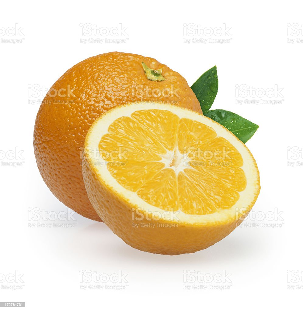 Oranges duo + Leafs royalty-free stock photo