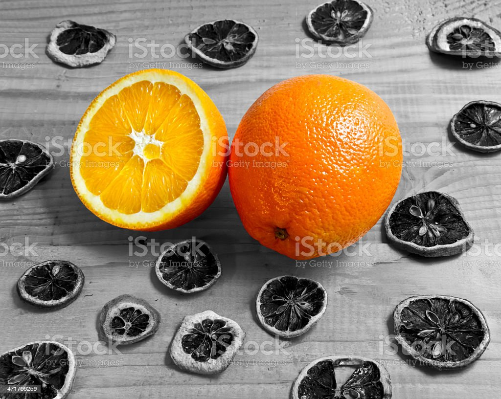 oranges fruit on a wooden table royalty-free stock photo