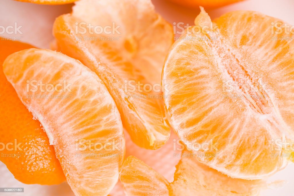 Oranges, fruit. Whole, slices, peeled. stock photo