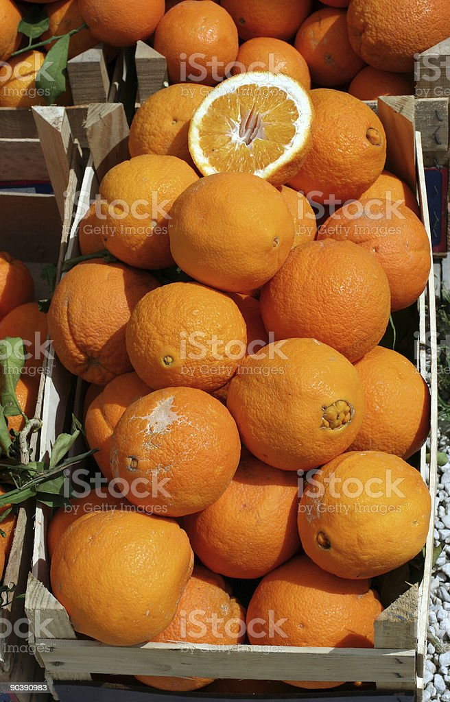 Oranges in a case at Roman market royalty-free stock photo