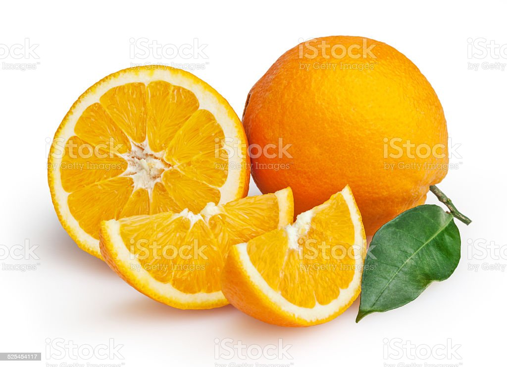 Oranges isolated on white background + clipping path stock photo