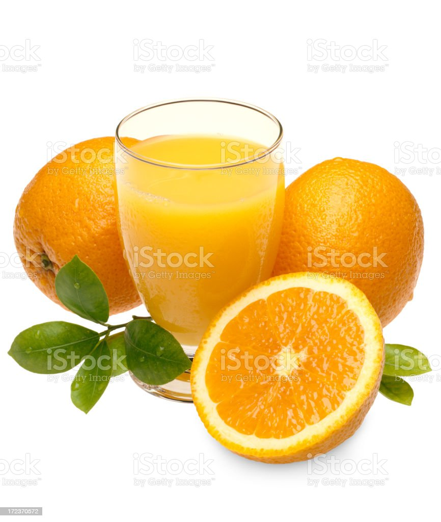 Oranges, Juice and Leafs stock photo