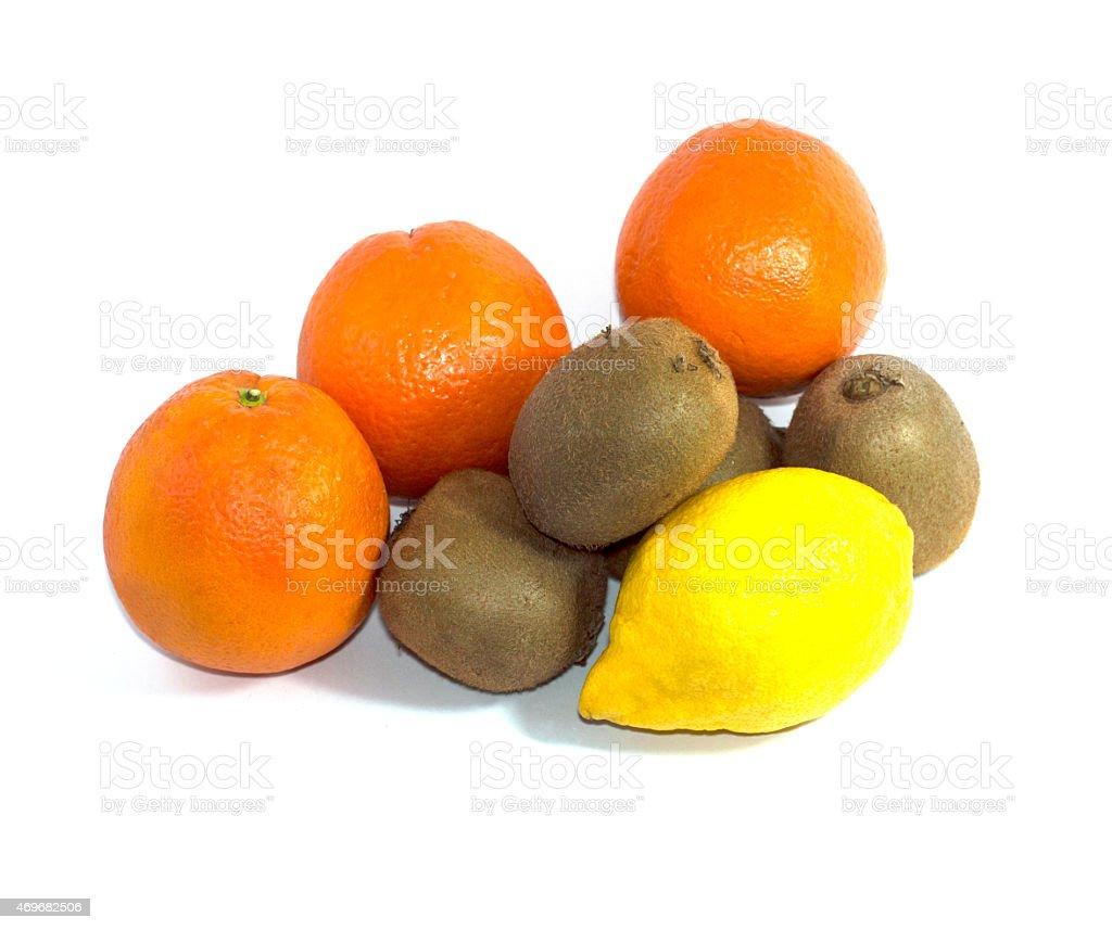 oranges, kiwi and lemon in group stock photo