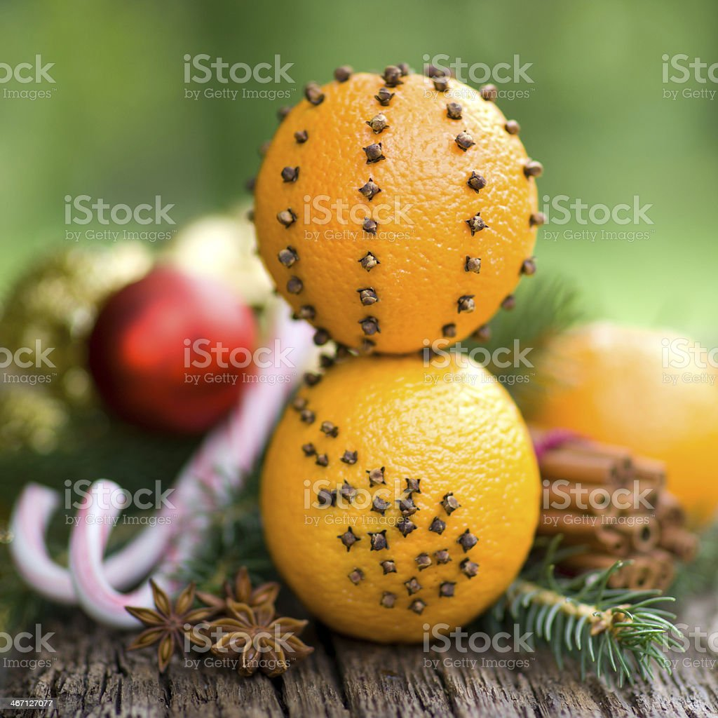 Oranges with cloves royalty-free stock photo