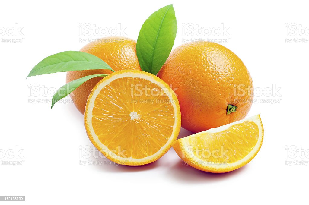 Oranges with leafs royalty-free stock photo