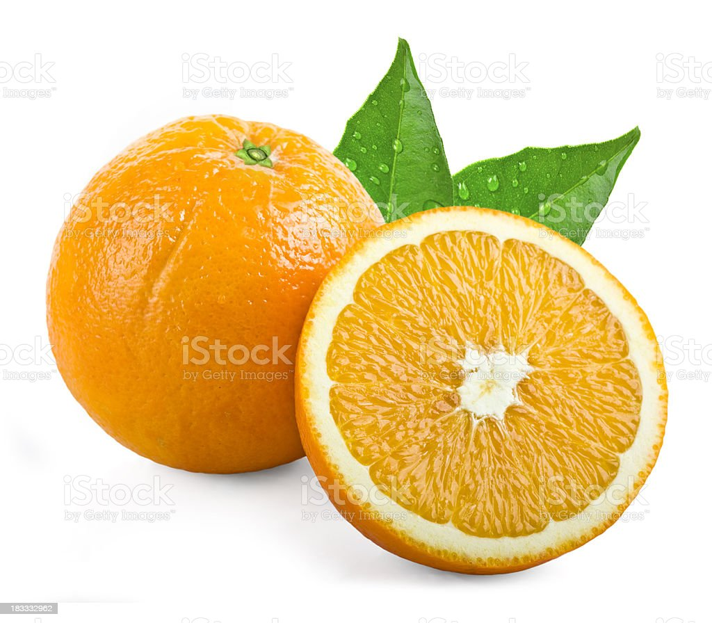 Oranges with leafs stock photo
