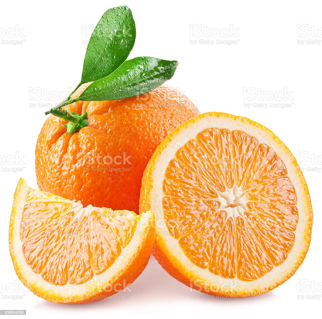 Oranges with slice and leaves isolated on a white background. stock photo
