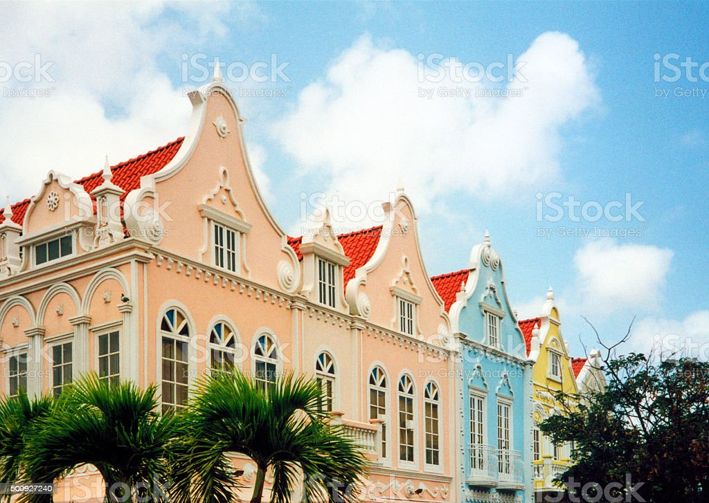 Oranjestad, Aruba: Dutch colonial architecture stock photo