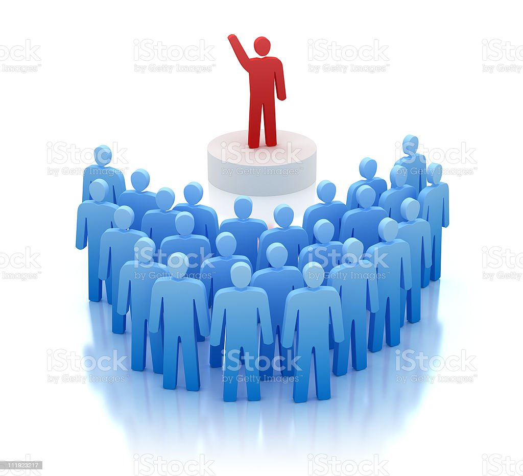 Orator speaking in front of people stock photo