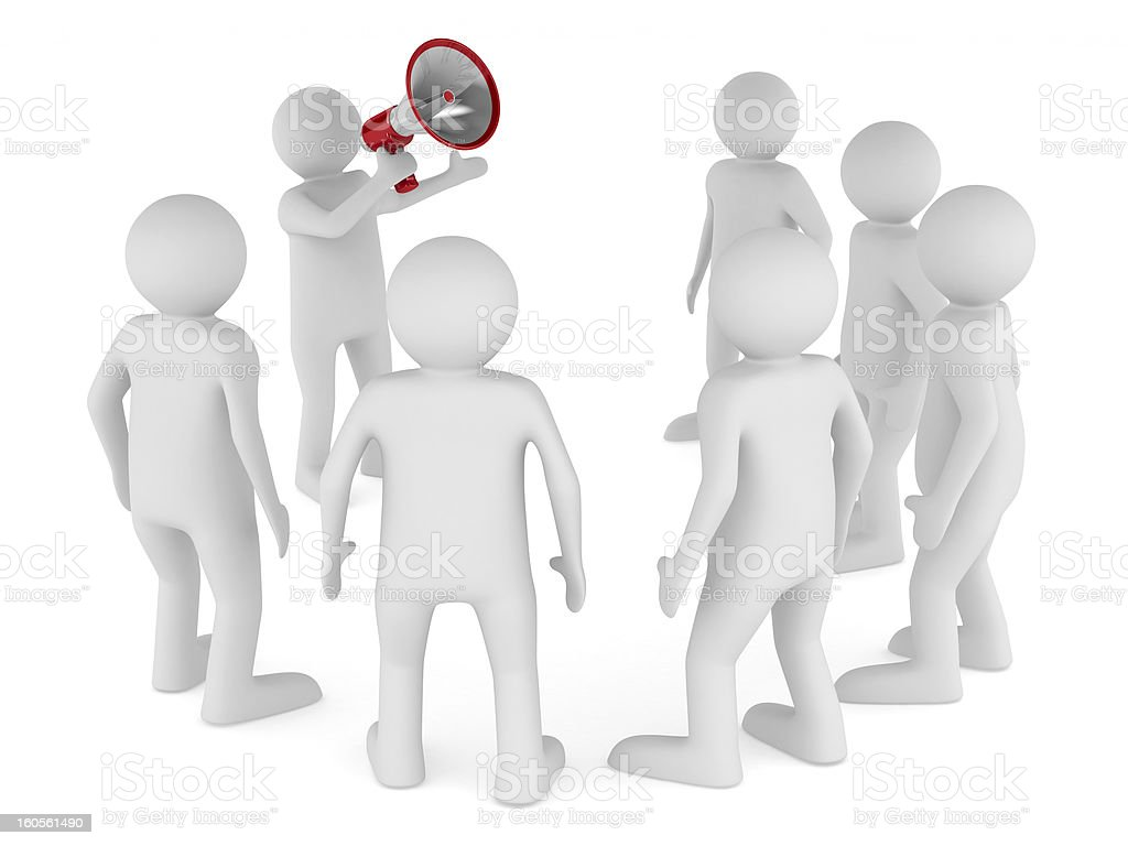 orator speaks in megaphone. Isolated 3D image royalty-free stock photo
