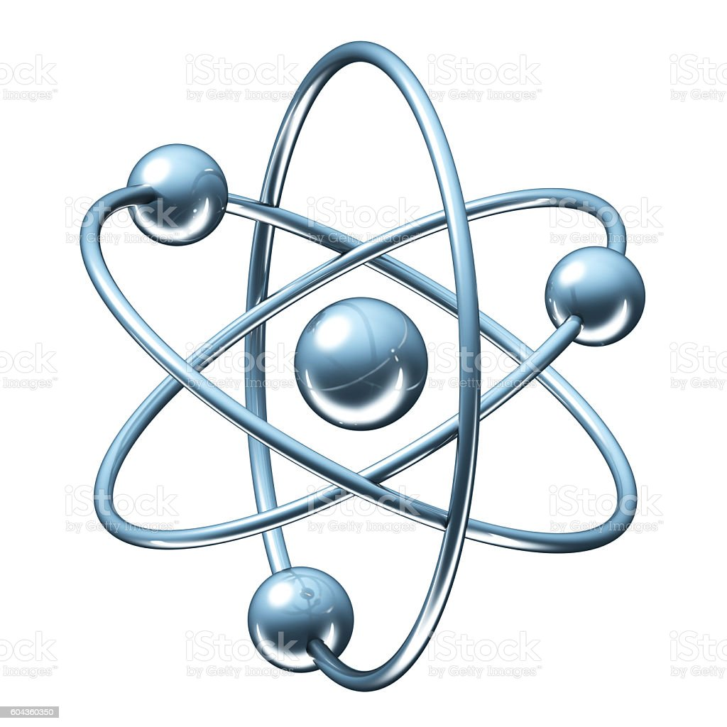 Orbital model of atom - physics 3D illustration stock photo