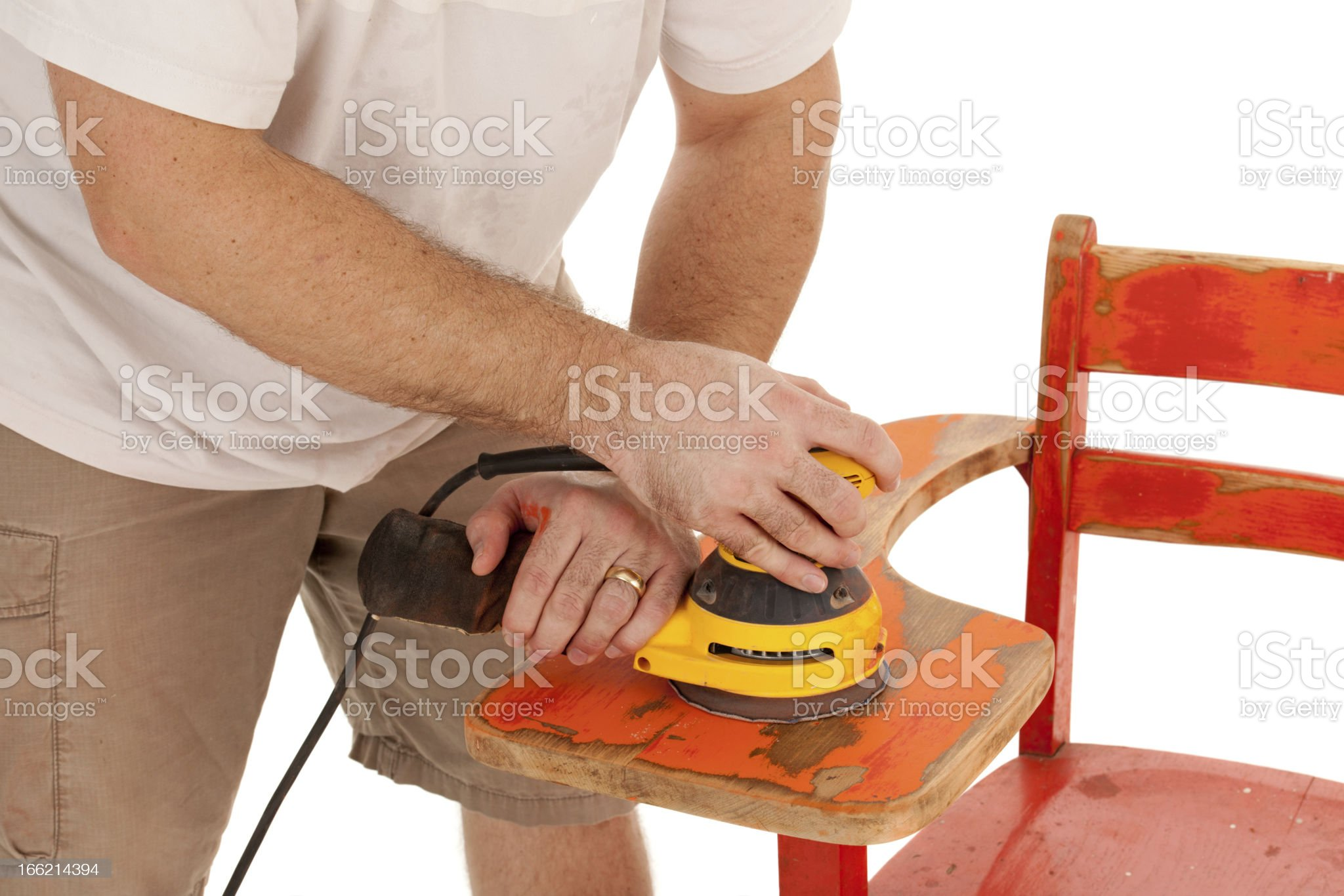 Orbital Sander to Restore Old School Desk (Close-up, Restoration Series) royalty-free stock photo