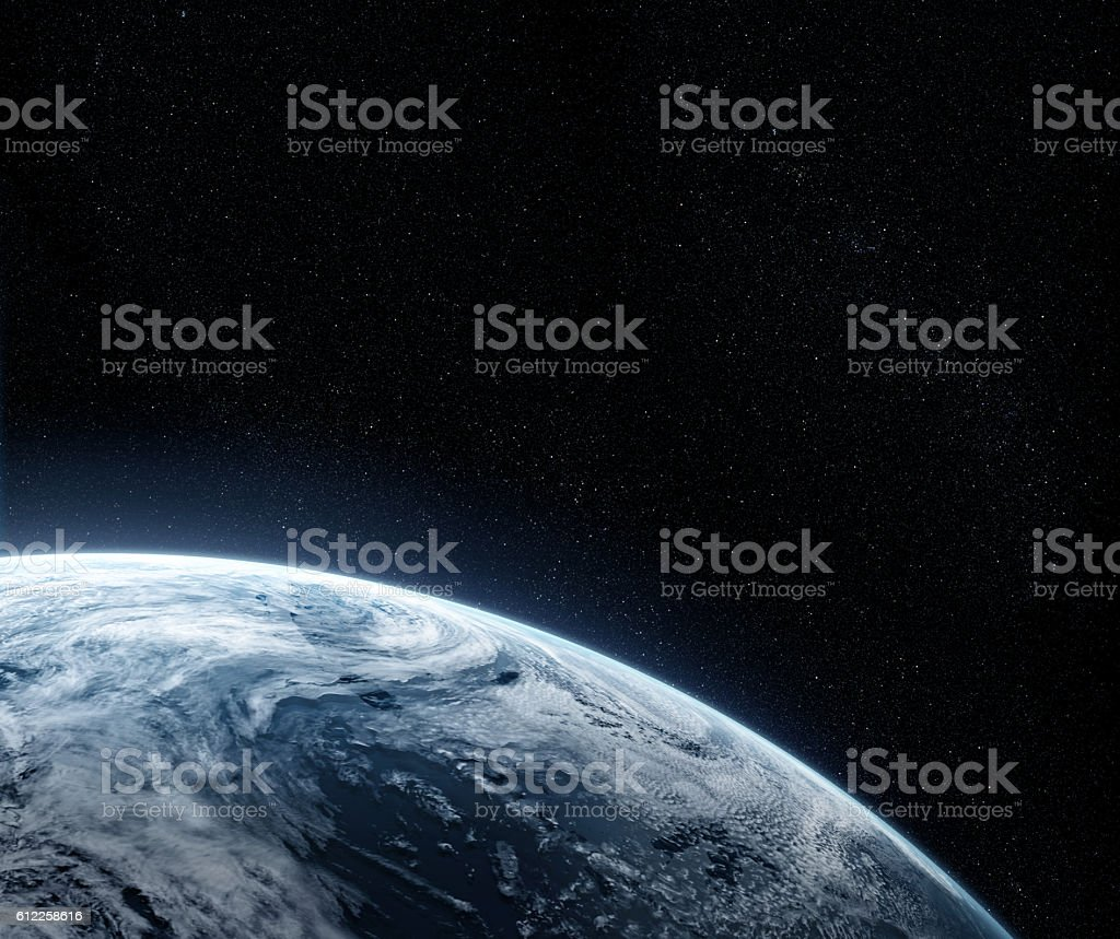 Orbital view on a planet from space stock photo
