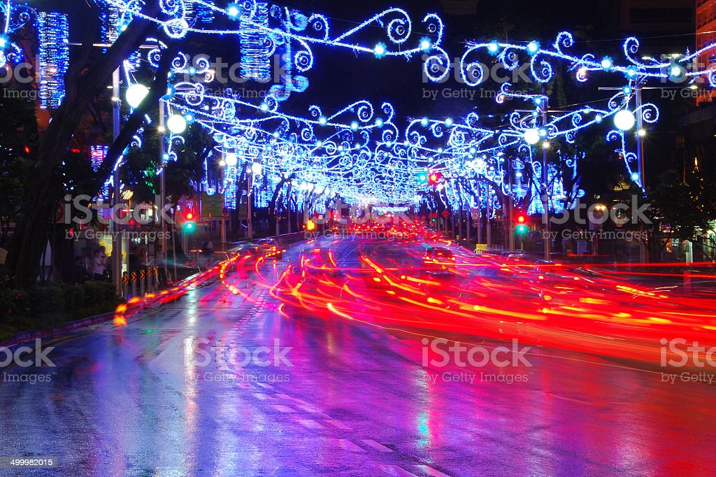 Orchard Road Street light up stock photo