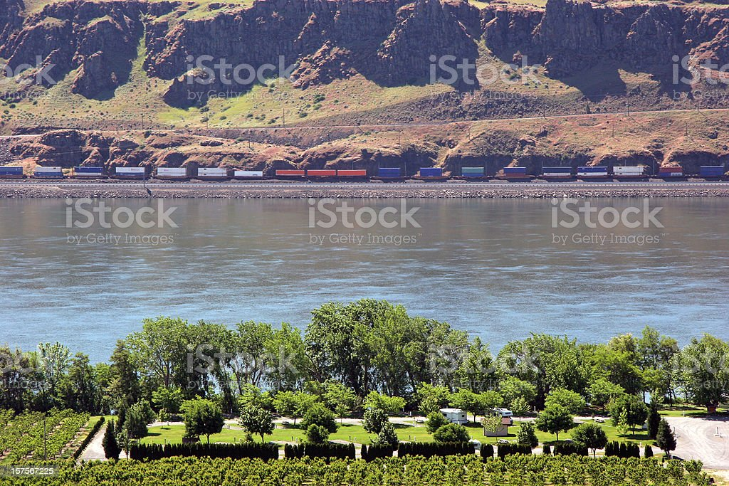 Orchards,Trailers And Trains In Washington State royalty-free stock photo