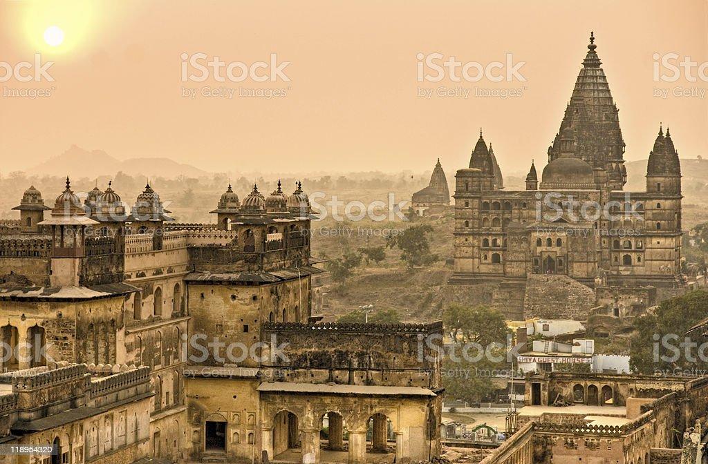 Orcha's Palace at sunset, India. stock photo