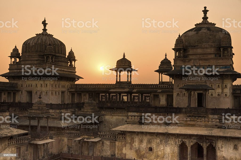 Orcha's Palaceat sunset, India. stock photo