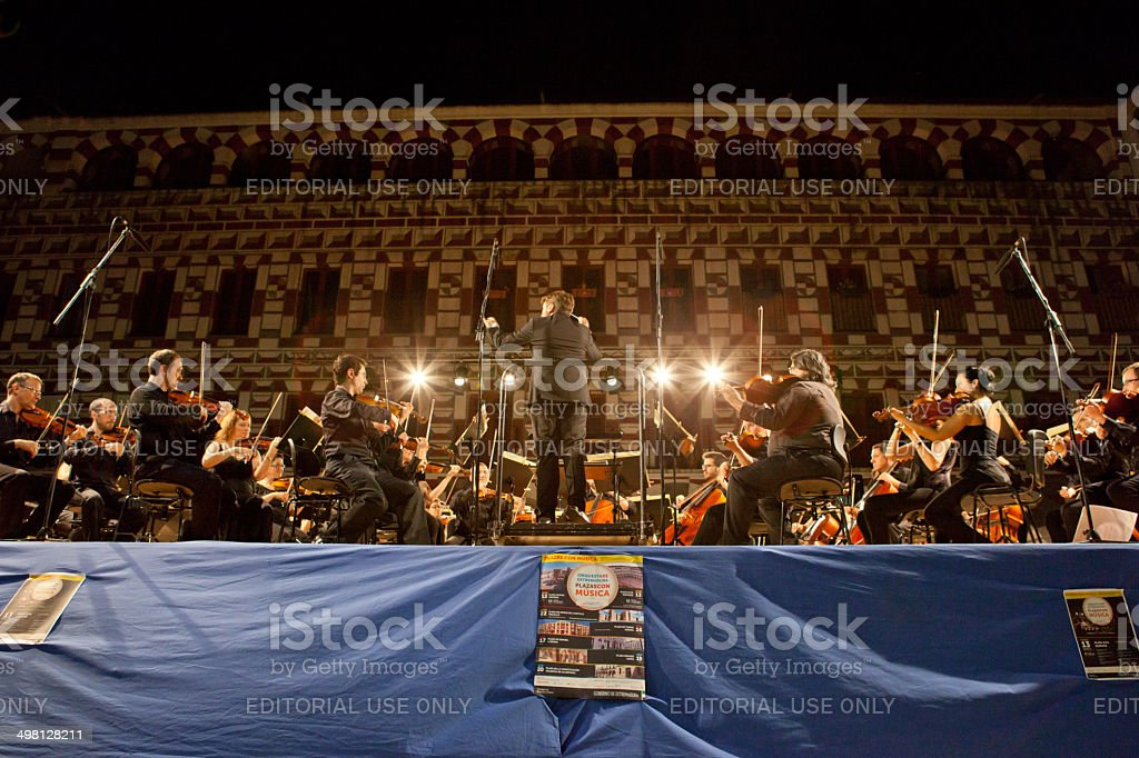 Orchestra at Plaza Alta, Spain stock photo