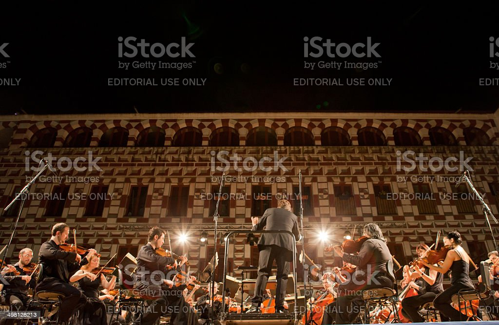 Orchestra at Plaza Alta, Spain stock photo
