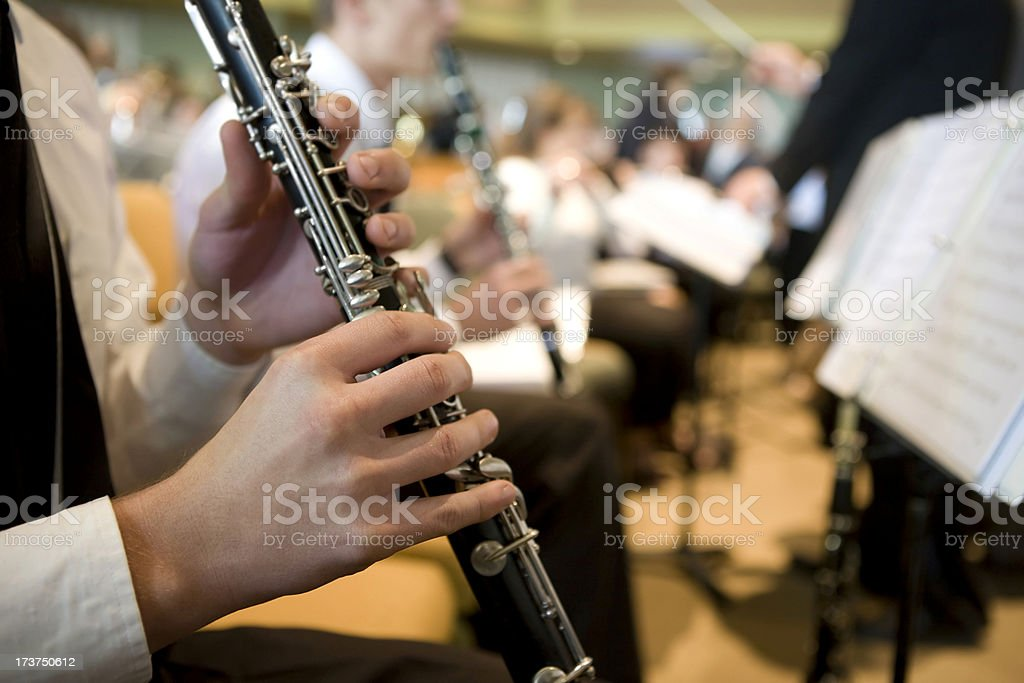Orchestra clarinet player stock photo