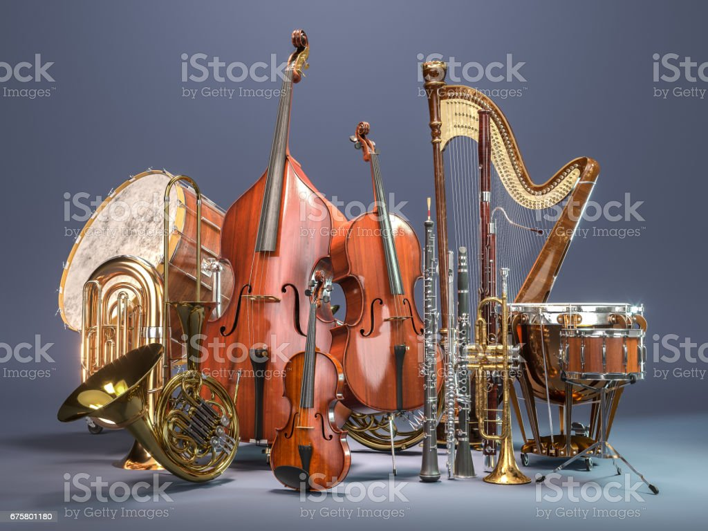 Orchestra musical instruments on grey background. 3D rendering stock photo
